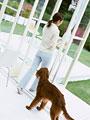 イヌと女性の写真