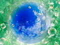 シャボン玉と青空の写真
