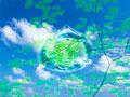 青空と水滴の写真