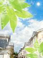 住宅街とシャボン玉の写真