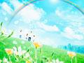 草原の親子と虹の写真