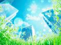 草むらとビル街の写真