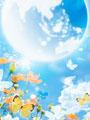 青空とチョウの写真