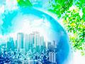 ビル街と地球儀の写真