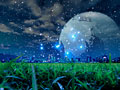 町並と星空の写真