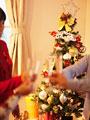 クリスマスツリーと乾杯の写真