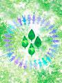 新緑と手をつなぐ子供たちの輪の写真
