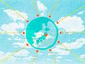 青空に浮かぶ地球に向かってくるハートの写真
