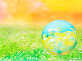 花畑と球体の写真