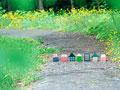 道の上に並ぶ住宅のミニチュアの写真