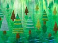 水面上に立つ森林のミニチュアの写真