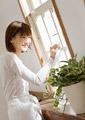 窓を拭く女性の写真